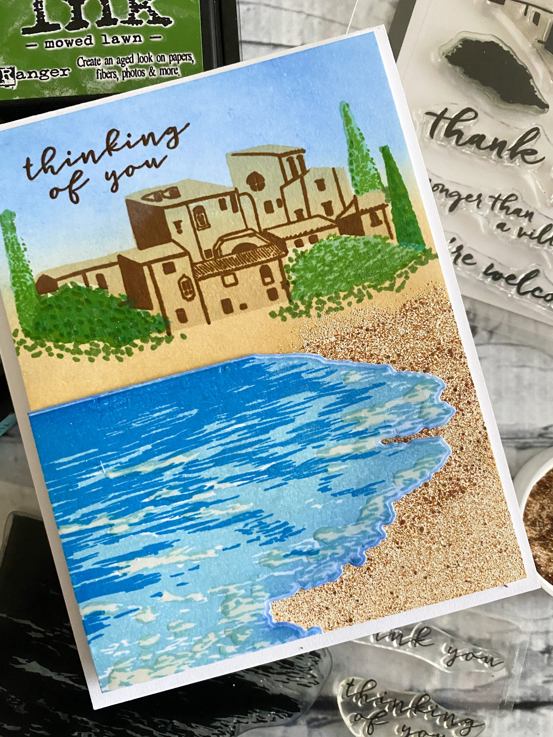 Mediterranean Beach Scene Card for an IG Hop